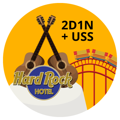 2D1N Stay at RWS HardRock Hotel & USS Tickets for 2 Adults and 2 Kids